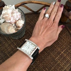 ERIC ANDREW Black & Rhinestone Large Watch